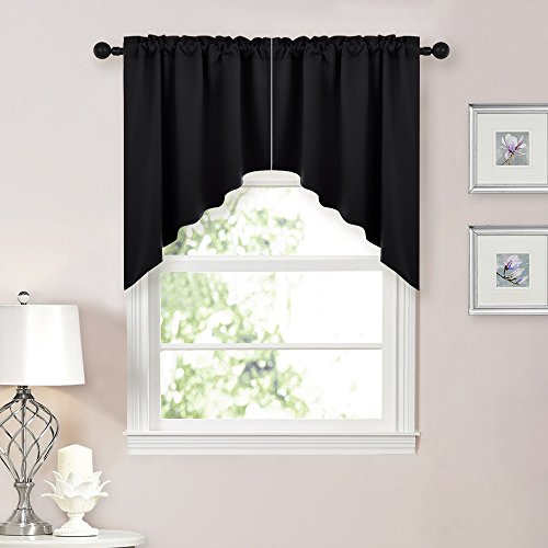 NICETOWN Half Window Rod Pocket Kitchen Tier Curtains- Tailored Scalloped Valance /Swags (1 Set, 72 inch Wide Combined, 36 inch Long, Black) (Window Sets Kitchen Curtain)