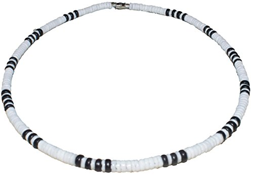 Native Treasure 18 inch Men's White Clam Heishe Puka Shell Necklace Black Wood Coco Beads Surfer Beach Tropical Luau Vacation Necklace - 5mm (3/16