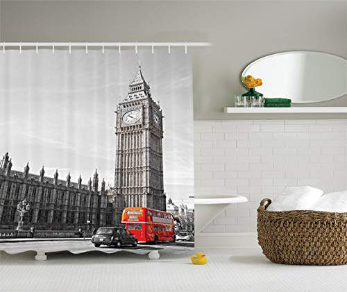London Decor Collection, View of Big Ben Tower from The Beginning of Westminster Bridge with Black Cab and Bus Picture, Polyester Fabric Bathroom Shower Curtain, Black Grey 72x72 in