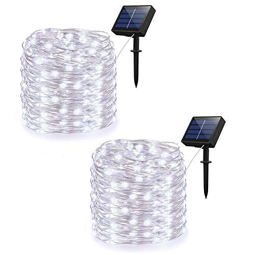 Solar String Lights - Adecorty Outdoor String Lights 2 Pack 200 LED 66ft 8 Modes Starry String Lights Indoor/Outdoor Waterproof Solar Decoration Lights for Garden Home Party Bedroom Decor (Cool White)