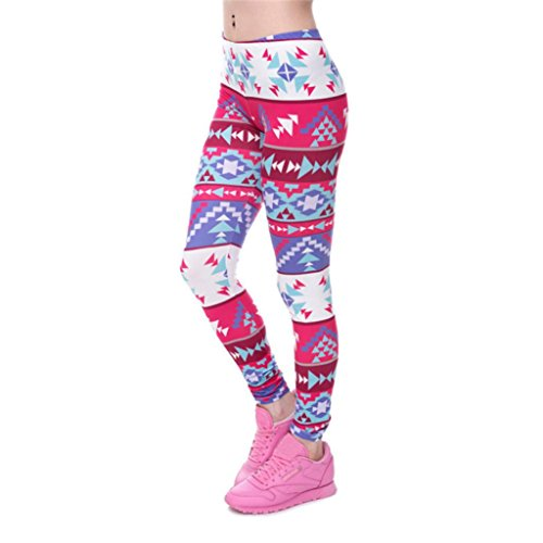 - Women Fashion Leggings Color Print Fitness Legging High Elasticity Trouser Pants