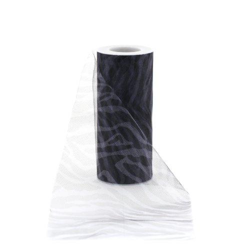 Zebra Print Fabric By The Yard (Offray Jungle Animal Print Tulle Craft Ribbon, 6-Inch by 25-Yard Spool, Zebra Print)