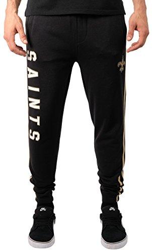 NFL New Orleans Saints Men's Jogger Pants Varsity Stripe Fleece Sweatpants, Small, Black -