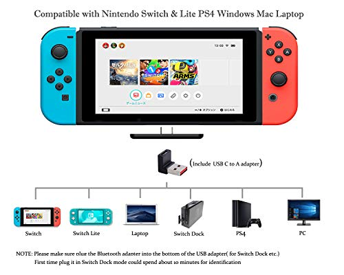 Gulkit Route Air Switch Bluetooth Adapter Wireless Audio Transmitter w/APTX Low Latency Compatible with Nintendo Switch & Switch Lite, PS4 PC Laptops for Airpods Bluetooth Headphone Speakers (Black)