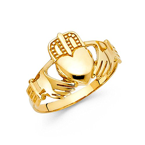 Wellingsale Men's Solid 14k Yellow Gold Polished Friendship and Love Irish Claddagh Right Hand Fashion Ring - Size 10