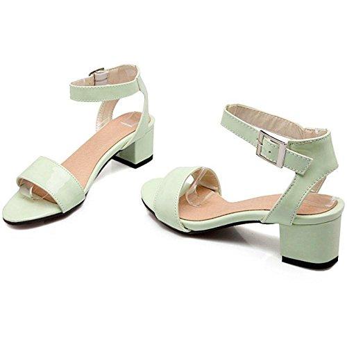 Shoes Sandals TAOFFEN Green Women's Block 5 Heel wPIIZ8xtq
