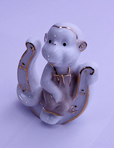 Feng Shui Monkey with Horseshoe - Hand Crafted and Decorated Fine Chinese Porcelain, Figurine 2152513 (1)