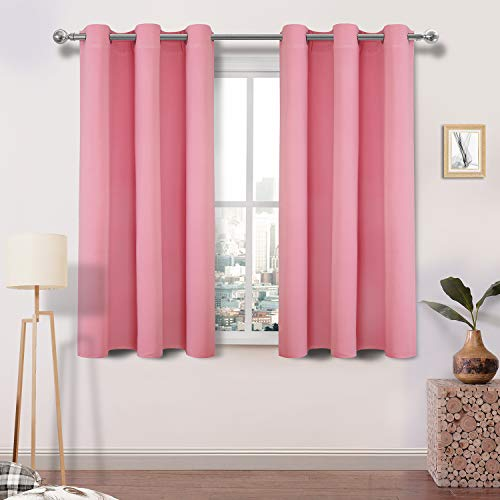 DWCN Pink Blackout Curtains Blocking Light Room Darkening Thermal Insulated Grommet Window Curtain for Bedroom Living Room Privacy Solid Drapes 42 x 45 Inches Length, Set of 2 Thick Panels