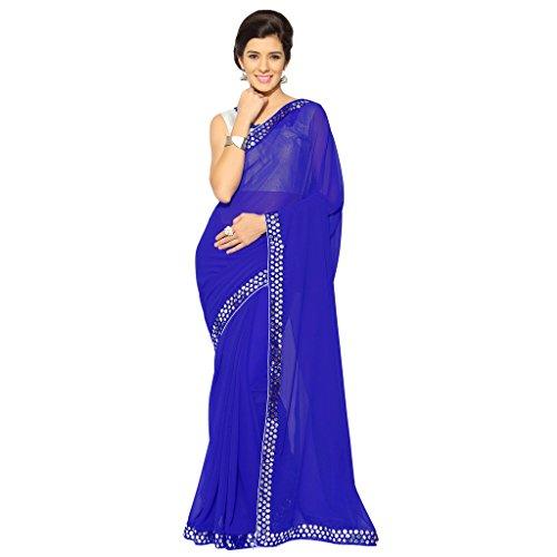 - Sourbh Mirchi Fashion Women's Faux Georgette Saree (2683_Royal Blue)