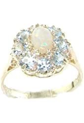 10k White Gold Natural Opal and Aquamarine Womens Cluster Ring - Sizes 4 to 12 Available