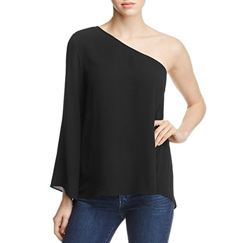 Vince Camuto Womens Long Sleeve One Shoulder Blouse Black M