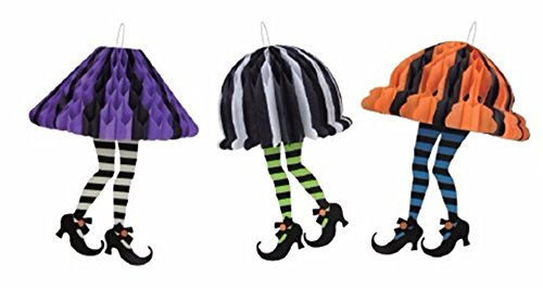 VNFEI Halloween Witches Socks Honeycomb Balls Halloween Decoration Crafts(Witches Socks)