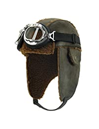 d42081314f7d1 ililily Aviator Hat Winter Snowboard Fur Ear Flaps Trooper Trapper Pilot  Goggles