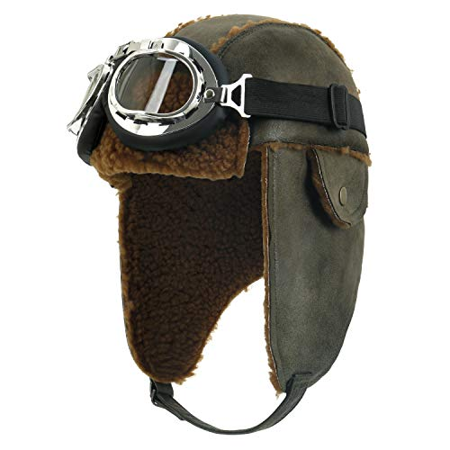 ililily Aviator Hat Winter Snowboard Fur Ear Flaps Trooper Trapper Pilot Goggles, Olive Green