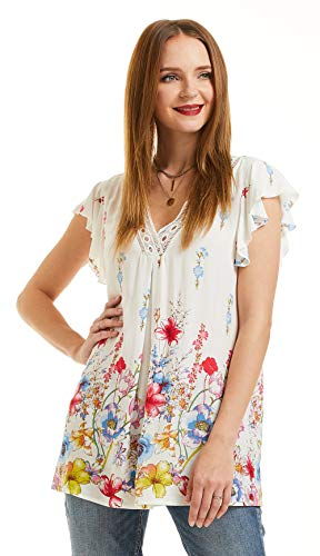 Ivory Flutter Sleeve Top - SONJA BETRO Women's Ivory Floral Printed Lace Trim V-Neck Flutter Sleeve Tunic Top XX-Large