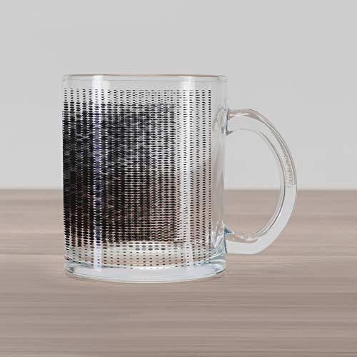 (Lunarable Modern Art Glass Mug, Digital Futuristic Pixel Tech-Art with Dots Spots Artificial Abstract Pattern, Printed Clear Glass Coffee Mug Cup for Beverages Water Tea Drinks, Grey Black)