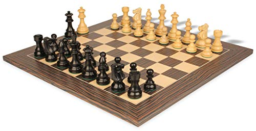 French Lardy Staunton Chess Set Ebonized & Boxwood Pieces with Tiger Ebony Deluxe Chess Board - 3.75