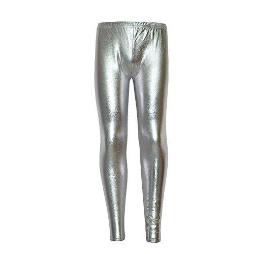 Girls Disco Pants (Kids Girls Leggings Metalic Shinny Disco Fashion Dance Leggings Age 4-13)