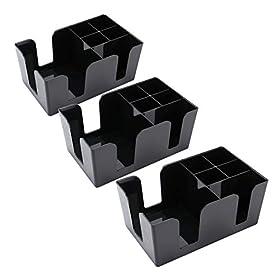 Tebery 3 Pack Bar Caddy with 6 Compartments,Barware Caddy, Bar Caddy Napkin Dispenser, Straw Organizer – 9″ L x 5.4″ W, Black