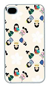 iPhone 4S Cases and Covers,Japanese Kokeshi Dolls Custom Slim Hard Case Snap-on PC Plastic Case Cover Shell for Apple iPhone 4S/4 White