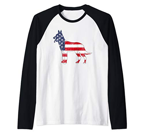 American Patriotic Belgian Tervuren ACZ010a  Raglan Baseball Tee ()
