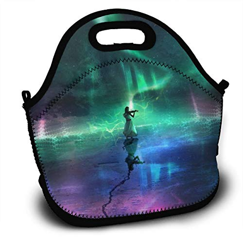 Dejup Lunch Bag Aurora Women Tote Reusable Insulated Lunchbox, Shoulder Strap with Zipper for Kids, Boys, Girls, Women and Men -