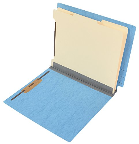TAB Pressboard Classification Folder - End Tab, 2 Dividers, 6 Fasteners, Letter Size, 2