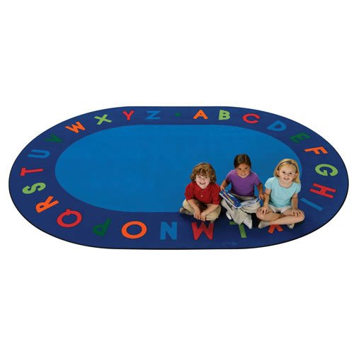 Carpets for Kids 2506 Circletime Alphabet Primary Kids Rug Size: Oval 6' x 9' 6' x 9' , 6' x 9' , Blue by Carpets for Kids