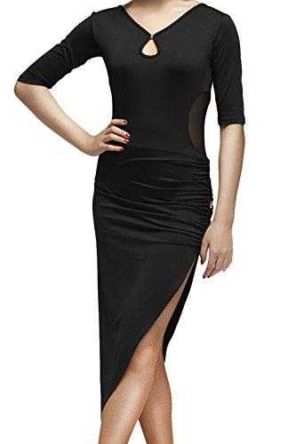 Dance Dresses,Solando Women's Half Sleeve V-Neck for Latin Dance Ballroom Tango ChaCha (S, Black)