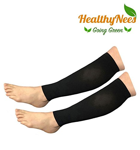 HealthyNees Shin Calf Sleeve 20-30 mmHg Medical Compression Circulation Extra Wide Plus Size Big Tall Leg Thick Calves Firm Support (Black, Big Calf 3XL) by HealthyNees (Image #1)