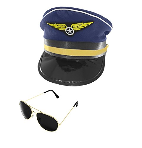 Airline Pilot Captain Hat and Aviator Sunglasses Set, Navy Blue Gold, One Size -