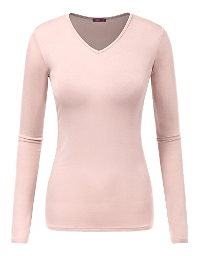 Doublju Women Casual Long Sleeve V neck Slim Fit T-shirt PINKBEIGE,L