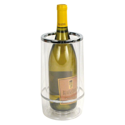 Winco WC-4A, Clear Thick Acrylic Wine Cooler, Double Wall Tabletop Wine Bottle Chiller with Brushed Chrome Rim