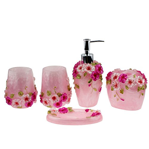 Soap Pink Dispenser (Creative Scents Marquee Bath Ensemble, 5 Piece Bathroom Accessories Set, Marquee Collection Bath Set Features Soap Dispenser, Toothbrush Holder, Tumbler, Soap Dish - Accented with Small Square Mirrors)