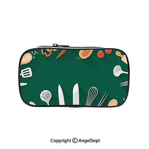 Pen Case Office College School Large Storage,Kitchenware Utensils Vegetables Spices Cooking Creative Recipe Home and Cafe Design Print Green Red 5.1inches,Box Organizer New Arrival -