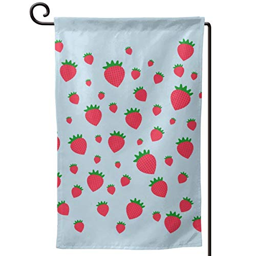 NFEMNEO Whimsical Strawberry Garden Yard Flag Double Sided Printed Welcome House Decor Flag 12.5 X 18 Inches