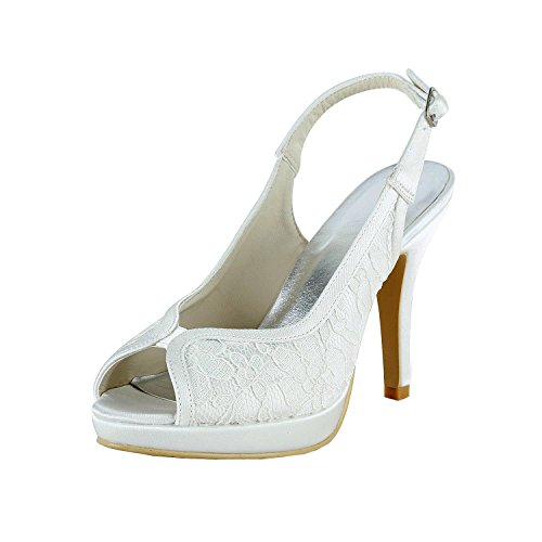 Minishion GYMZ650 Womens Open Toe Stiletto Heel White Lace Slingback Platform Bridal Wedding Shoes 6.5 M US