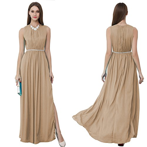 Neck Round Beige Sleeveless Evening Dress Women's Pleated cotyledon Dresses xgtI4nq