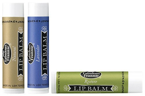 Lip Balm Trio All Natural made with Pure Essential Oils - 3 pack .15oz each (Lavender, Natural & Restore) 100% Natural Lip Trio