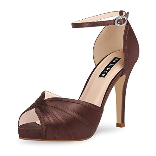 (ERIJUNOR E1773 Women High Heel Sandals Ankle Strap Satin Evening Prom Party Shoes Dark Brown Size)
