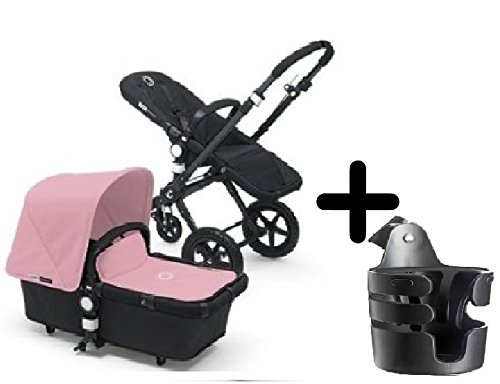 Bugaboo Cameleon 3 Stroller 2015, Black Frame and Black Base With New Extendable Sun Canopy (Soft Pink) + Bugaboo Cup Holder