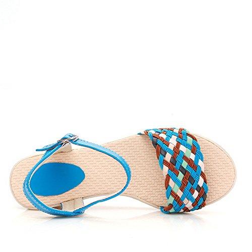 AllhqFashion Mujeres Puntera Abierta Hebilla Sintético Color Surtido Plataforma Sandalia Azul