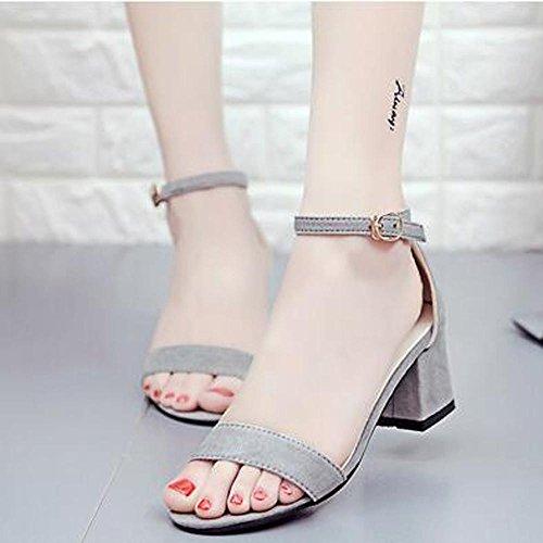 Ouneed ® Las mujeres ocio grueso tobillo sandalias de moda Gris
