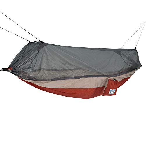 Water-Resistant,Durable and Portable Equip 1-Person Mosquito Hammock with Hanging Kit,Protects You From Bugs and Mosquitoes,Best for Camping,Hiking,Backpacking and Travel,Red