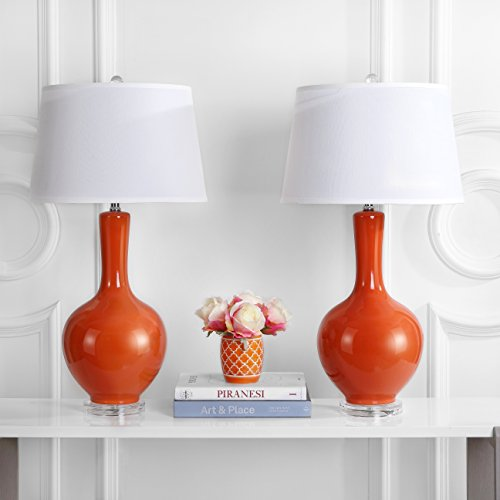 Safavieh Lighting Collection Blanche Gourd Orange 32-inch Table Lamp (Set of 2)