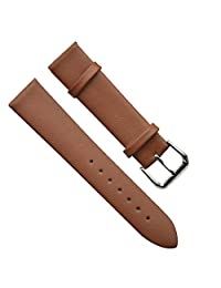 18mm Men's Vintage Regular Replacement Genuine Leather Silver Buckle Watch Strap/Watch Band (Ultra-thin/Brown)