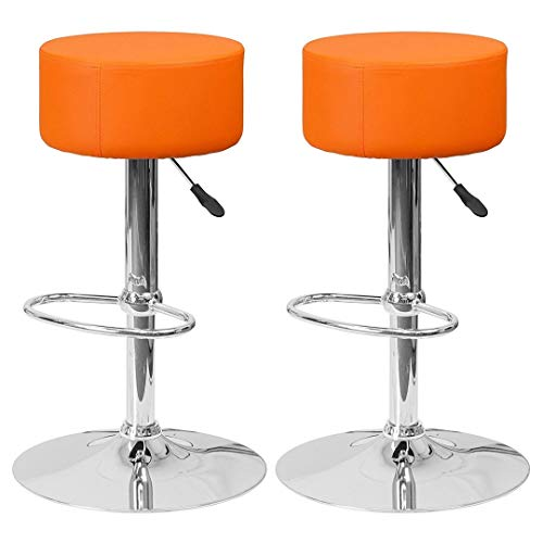 Contemporary Backless Bar Stools Height Adjustable Seat 360-Degree Swivel Sturdy Steel Frame Thick Padded Cushion Round Seat Dining Chair Bar Pub Stool Home Office Furniture - Set of 2 Orange #1992 Backless Chrome Retro Floor