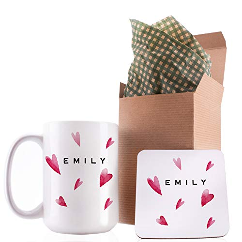 Personalized Coffee Mug Gifts Hearts with Your Name - 11oz & 15oz Large Cup with Matching Coaster - Birthday Gifts, Mothers Day Gifts, Father's Day Gifts, Christmas Gifts, Grandma Grandpa Gifts