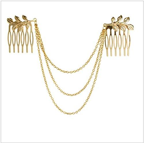 Womens Personality Golden Tone Leaf Hair Cuff Chain Comb Headband Hair Band