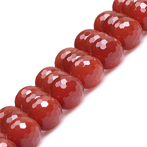 JOE FOREMAN 14mm Red Agate Semi Precious Gemstone Round Faceted Loose Beads for Jewelry Making DIY Handmade Craft Supplies 15